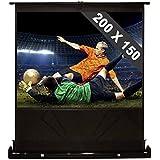 Ecran extensible de sol pour home cinema ou conférence 254cm 200x150cm 4:3 (bordure noire, 3 couches, revêtement de vinyle)