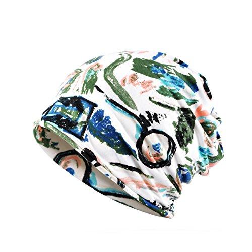eanie Chemo Hat Slouchy Cotton Stretch Turban Scarf Army Green (Stretch Top Hat)