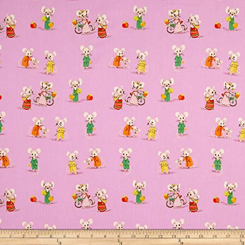 Windham Fabrics Heather Ross Country/City Mouse Light Purple Fabric Fabric by the Yard