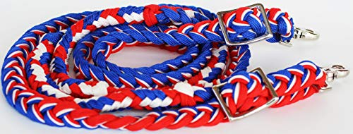 PRORIDER Horse Knotted Roping Western Barrel Reins Nylon Braided US Flag Rodeo 607107
