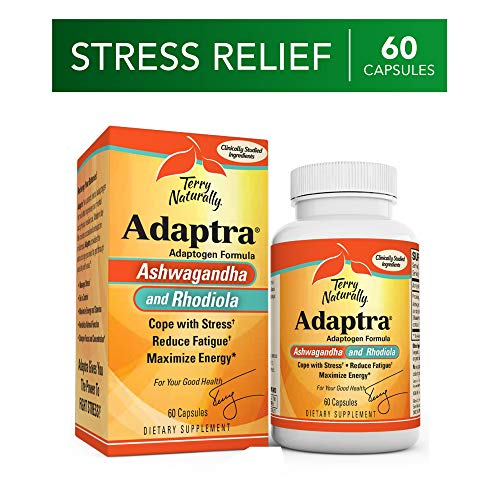 Terry Naturally Adaptra - 60 Capsules - Ashwagandha & Rhodiola Supplement, Helps Reduce Fatigue, Manage Stress & Maximize Energy - Non-GMO, Gluten-Free - 60 - Reduce Fatigue