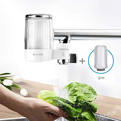 WEIEN Advanced Faucet Water Filter with Activated Carbon,Water Faucet Filtration System Removes Lead & Chlorine,High Water Flow Tap Water Purifier for Home Kitchen Bathroom - (2 Filter Included)