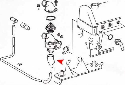 At Thermostat Housing URO Parts 1272030082 Water Pump Bypass Hose