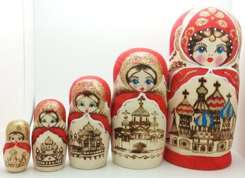 [Russian Church nesting dolls Wood Burned Hand Carved Hand Painted 5 piece DOLL Set 7