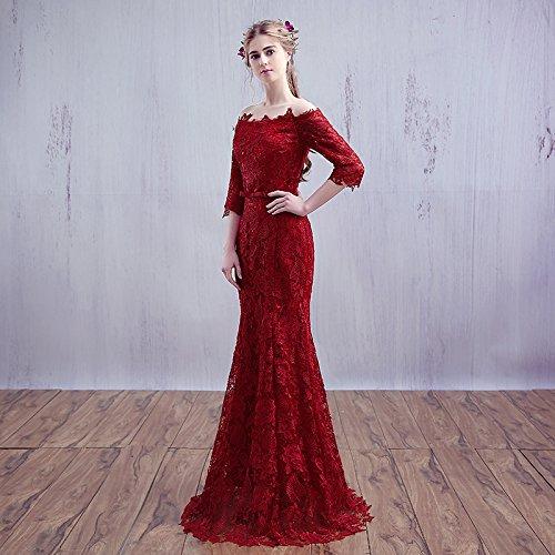 Robe En 14 Rouge 10 Sun Mariée Vin De Sirène Vin Manches Courtes Slim Robe Soirée Goddess Dentelle De Partie Mariée Y Rouge RzYFqx