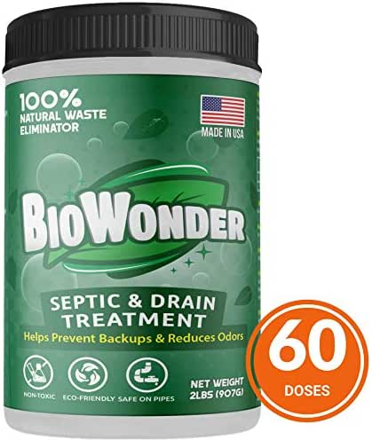 BioWonder Septic Tank Treatment & Odor Eliminator - 3X More Powerful Performance - 100% Organic Enzymes & Bacteria - Perfect for Disposals, Septic System, RV's, Drains, Toilets (2 lbs - 60 Treatments)