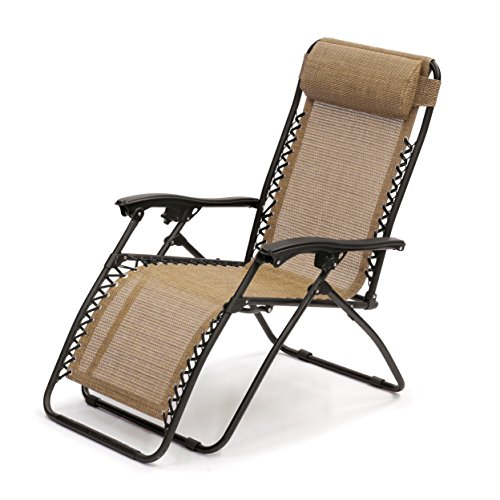 (SunTime GF06443YUSA Outdoor Living Modern Contemporary Zero Gravity, Brown Lounge Chair, Bronze)