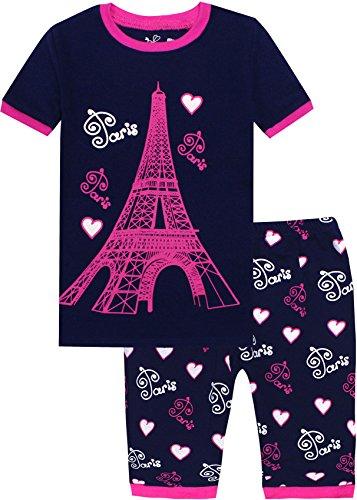 Little Girls Summer Pajamas Children Cartoon Tower Clothes Kids 2 Pieces Short Set Size 5 Years