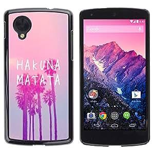 rígido protector delgado Shell Prima Delgada Casa Carcasa Funda Case Bandera Cover Armor para LG Google Nexus 5 D820 D821 /Vignette La Palm Pink/ STRONG
