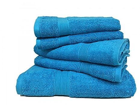 Lote de 5 toallas de rizo, 100% algodón, 600 g/m², tamaño grande, color turquesa: Amazon.es: Hogar