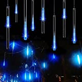 icicle lights blue - Aukora Rain Drop Lights, LED Meteor Shower Lights 11.8 inch 8 Tubes 144leds, Icicle Snow Falling Lights for Xmas Wedding Party Holiday Garden Christmas Decoration Outdoor (Ice Blue)