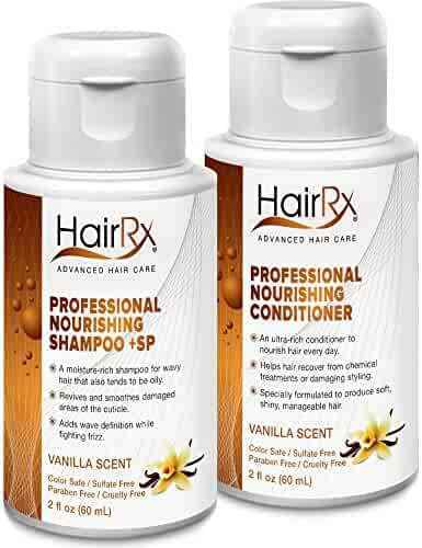 HairRx Professional Nourishing Shampoo +SP (for Oily Scalps) & Conditioner Travel Set, Luxurious Lather, Vanilla Scent, 2 Ounce Bottles