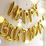 Outgeek Happy Birthday Balloons Banner,Foil Balloons Letters Balloons Mylar Balloons for Birthday Party Decoration