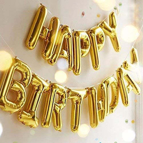 Happy Birthday Balloons OUTGEEK Happy Birthday Banner Foil Letters Balloons Mylar Balloons for Birthday Party Decoration