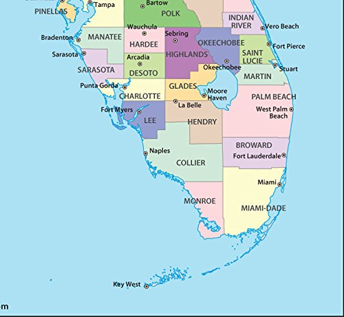 Map Of Florida Showing Vero Beach.Amazon Com Florida County Map Laminated 36 W X 33 12 H