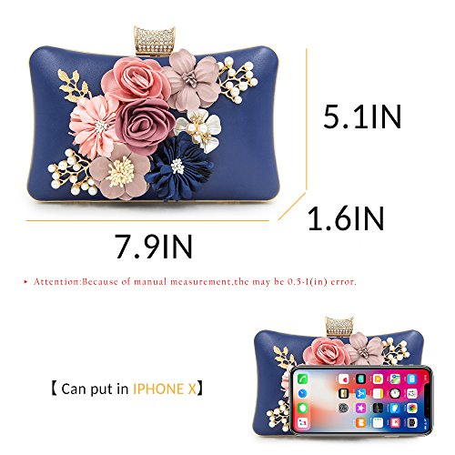 Flower Evening Milisente Clutch Clutch Bag Blue Purse Wedding Women Navy Bags x74t4U