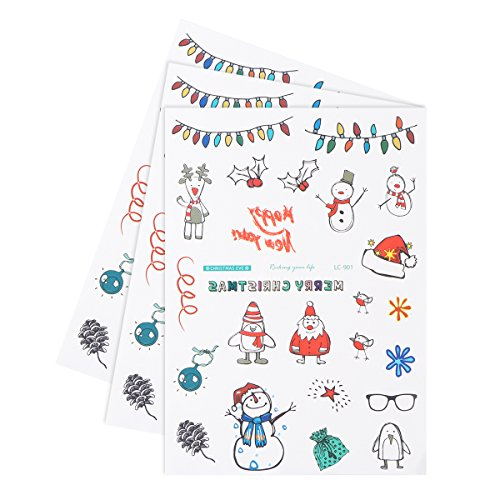 Tinksky 3PCS Waterproof Disposable Christmas Temporary Tattoo Stickers Sheets Santa Claus Snowman Reindeer Patterns Body Art Stickers For Children And Adults Hot Party Festive (Santa Reindeer Snowman)