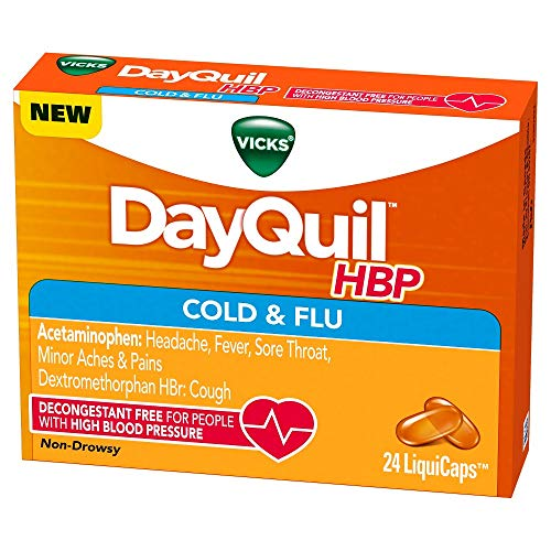 Vicks DayQuil HBP Cough Cold and Flu Relief People High Blood Pressure, 24 LiquiCaps (Pack of 2)