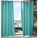 1pc 96 Outdoor Aqua Solid Color Gazebo Curtain, Blue Green Outside Window Treatment Single Panel, Cabana Polyester, Indoor Patio Porch Deck Entrance Door Grommet Doorway Pergola Drapes