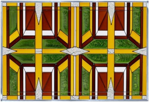 Prairie 2 Earthy 20.5 x 14 Horizontal Stained Glass Panel