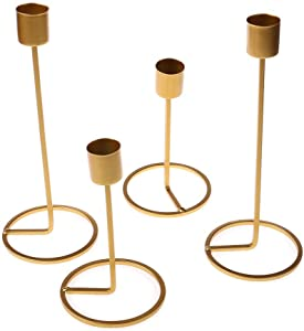 minansostey 4 Pack Candle Holders, Gold Brass Candlestick Holders Metal Taper Candle Holders, Decorative Candle Stand for Wedding and Dinner Table