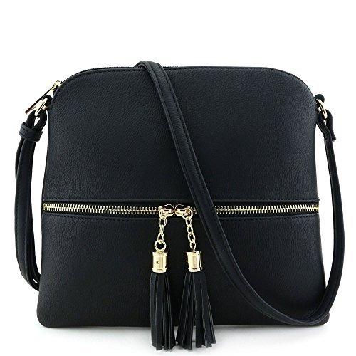 Lightweight Medium Crossbody Bag with Tassel (Bag Black Bags)