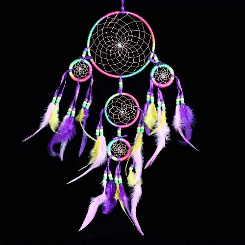 WESTONETEK Handmade Dream Catcher Traditional Dreamcatcher Wall Hanging Decoration Colorful Feather Five Rings