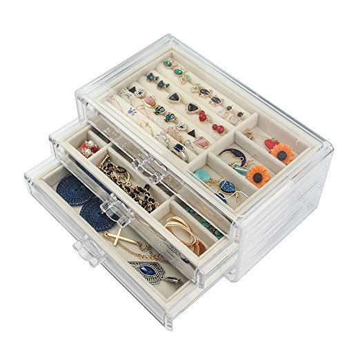 Tasybox Clear Jewelry Box Organizer 3 Drawers Velvet Jewellery Boxes Acrylic Ring Earring Necklace Bracelet Holder Display Case Gift for Women Girls Men (Beige)