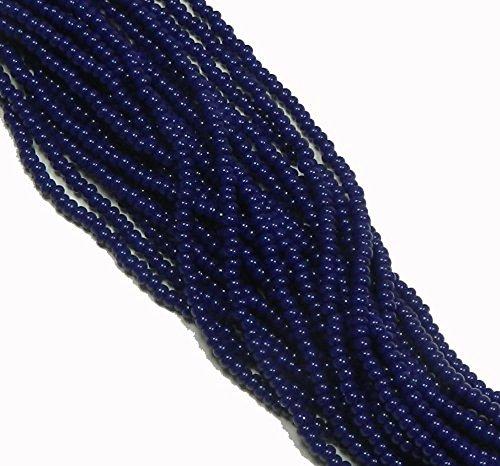 (Navy Blue Opaque Czech 8/0 Glass Seed Beads 1 Full 12 Strand Hank Preciosa)