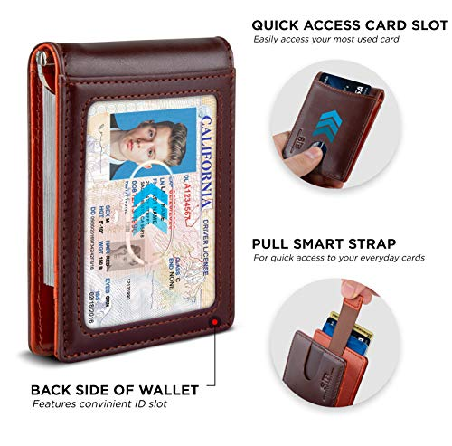 SERMAN BRANDS RFID Blocking Slim Bifold Genuine Leather Minimalist Front Pocket Wallets for Men with Money Clip Thin 4