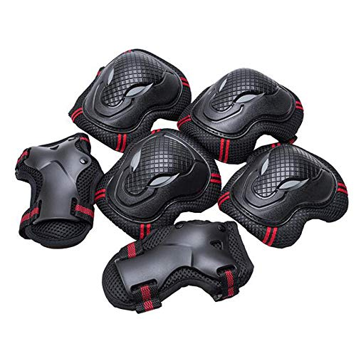 ZY Roller Skating Protective Gear Knee Pads Wrist Set Skate ox Head Wolf Face Protective Gear Sports Protection Equipment,BlackRed,M