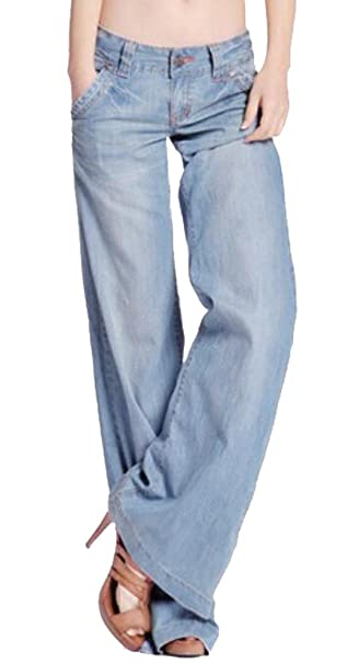 Suncolor8 Women's Sexy Low Rise Denim Wide Leg Palazzo Bell Bottom Jeans  Pants at Amazon Women's Jeans store f78dc627ba7e