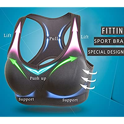 FITTIN Racerback Sports Bras for Women- Padded Seamless High Impact Support for Yoga Gym Workout Fitness at Women's Clothing store