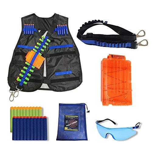 Zombie Eye Kit (FullyLoaded Tactical Vest Kit for Nerf Guns N-Strike Elite Series. Kids Nerf War Accessories - Darts, Safety Eye Glasses, Bandolier, Adjustable Vest Jacket, Reload Clip, Mesh Bag for Ammo Storage)