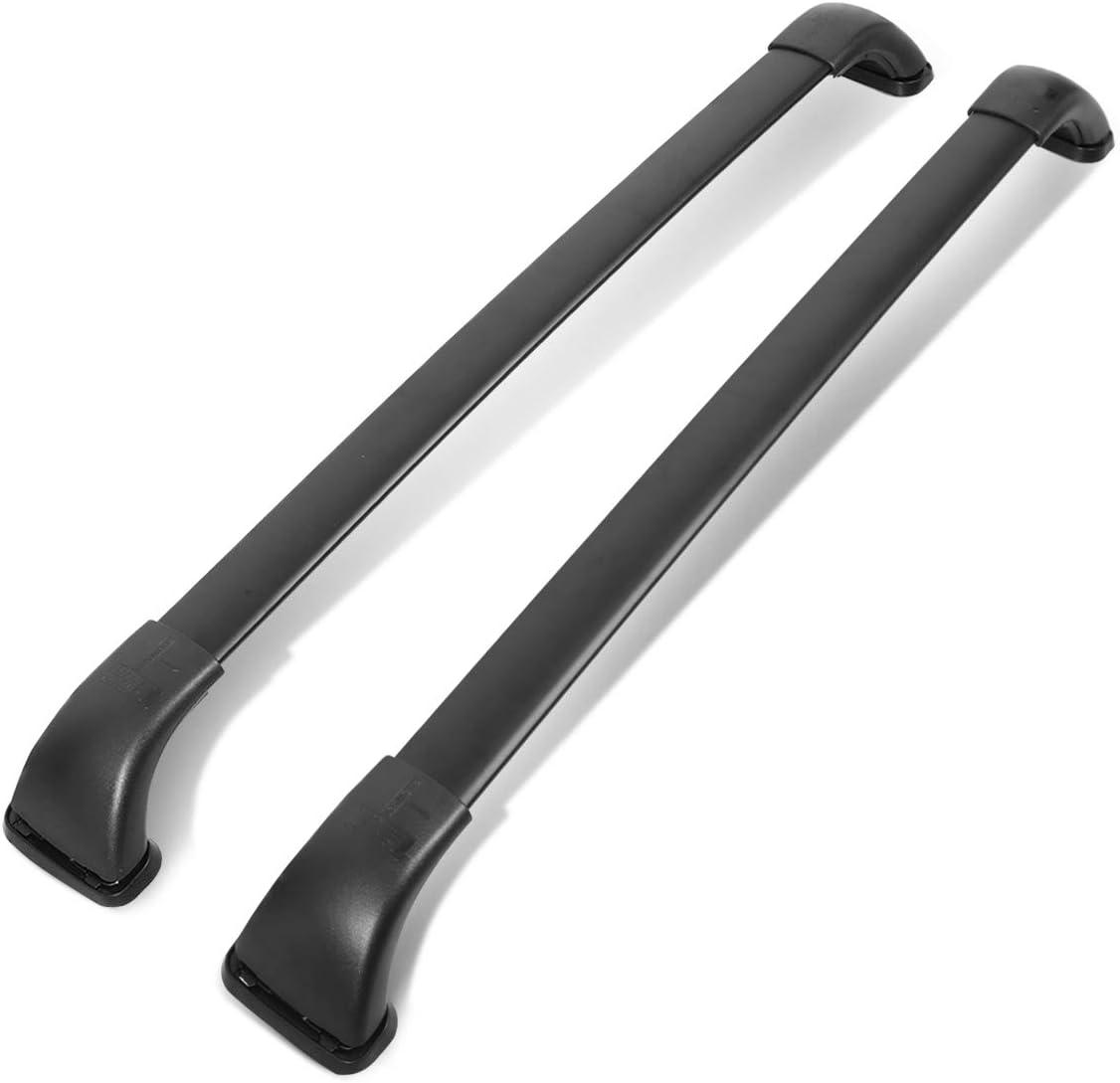 DNA Motoring RR-THI014 2Pcs Aluminum Roof Rack Top Side Rail Cross Bar,Black