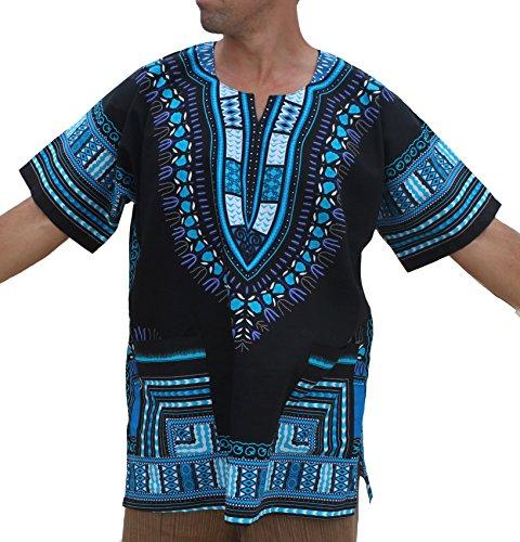 RaanPahMuang Brand Unisex Bright African Black Dashiki Cotton Shirt, Medium, Blue On Black by Raan Pah Muang
