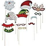 Christmas Santa & Elf Stick Costume Photo Booth Props - 12 pcs