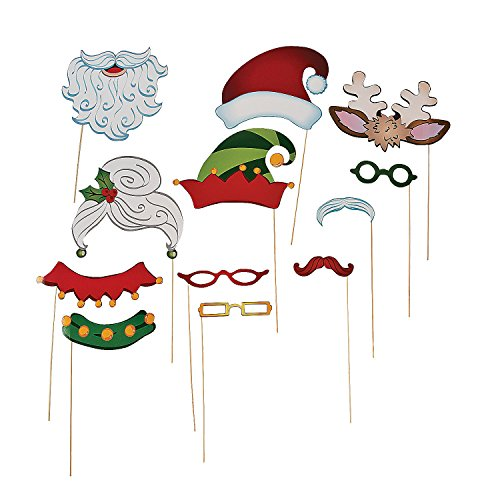 Christmas Santa & Elf Stick Costume Photo Booth Props - 12 pcs