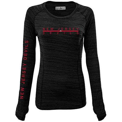 Nhl Womens Long Sleeve - NHL New Jersey Devils Adult Women Paris Divided Long sleeve Active Tee, Large, Heather Black