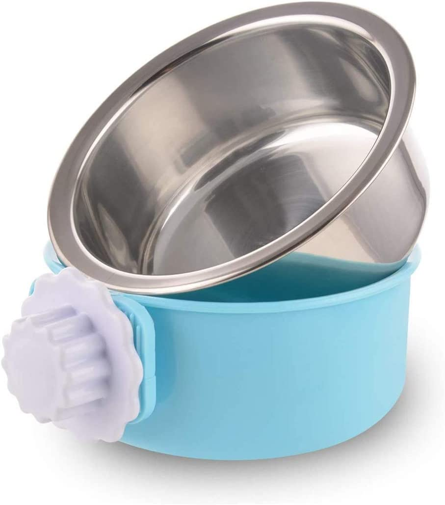 WeTest Crate Dog Bowl-Stainless Steel Removable Hanging Food Water Bowl Cage Coop Cup for Pet,Blue (LJ-ZLK-110808)
