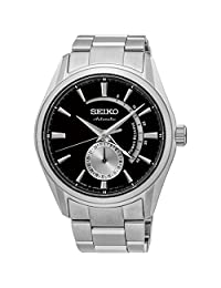 Seiko Men's Presage 42mm Steel Bracelet & Case Sapphire Crystal Automatic Black Dial Analog Watch SSA305