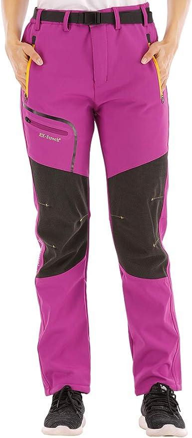 SANMIO Pantalones al Aire Libre para Mujer Pantalón da Senderismo y Trekking Alpinismo Ligero Secado Softshell Transpirable Forro Polar Aire Libre ...