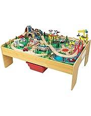 KidKraft 18025 Adventure Town houten treinbaanset met tafel voor kinderen, spoorwegactiviteitenset inclusief accessoires (120 stuks) met EZ Kraft-montage