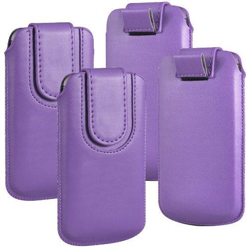 N4U Online - Paquet Double - Apple Iphone 5 bouton magnétique PU cuir Pull Tab protection étui couverture de peau - Violet Clair