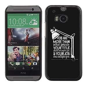 TECHCASE**Cubierta de la caja de protección la piel dura para el ** HTC One M8 ** Job Work Office Inspiring Message Grey