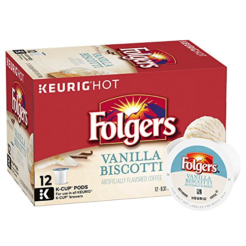 Folgers Vanilla Biscotti Flavored Coffee, K Cup Pods for Keurig K Cup Brewers, 12-Count (Pack of 6)