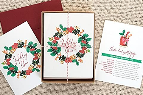 Holiday Cocktail Recipe Greeting Cards - Cranberry Mint Julep Pack of 8 - Cranberry Recipes