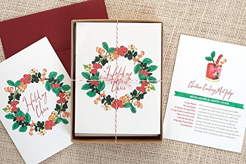 Holiday Cocktail Recipe Greeting Cards - Cranberry Mint Julep Pack of 8