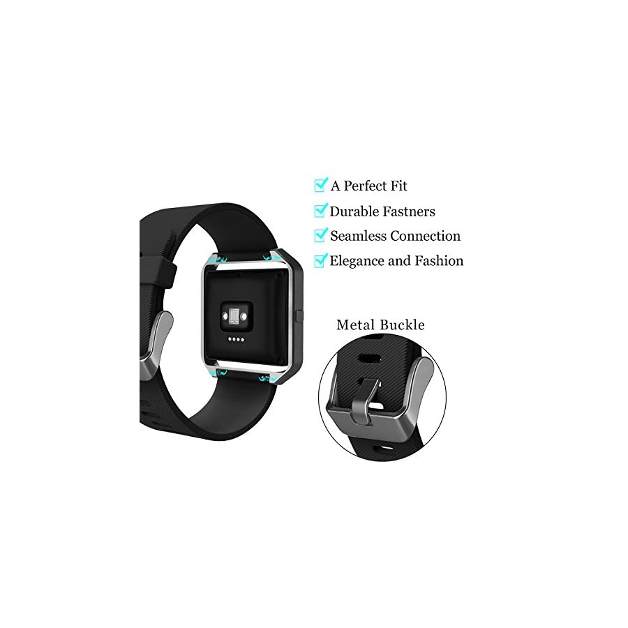 KingAcc Fitbit Blaze Bands, Soft Accessory Replacement Band for Fitbit Blaze, with Metal Buckle Fitness Wristband Strap Women Men Large Small Black, White, Gray, Blue, Purple, Rose, Red [No Frame]