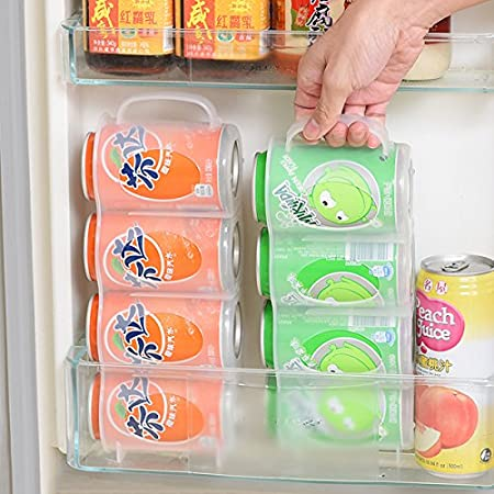 Amazon.com: KINGZHUO Can Organizer Soda Can Dispenser Useful Refrigerator Storage Box Kitchen Accessories Beverage Can Rack Four Case Sauce Bottle ...